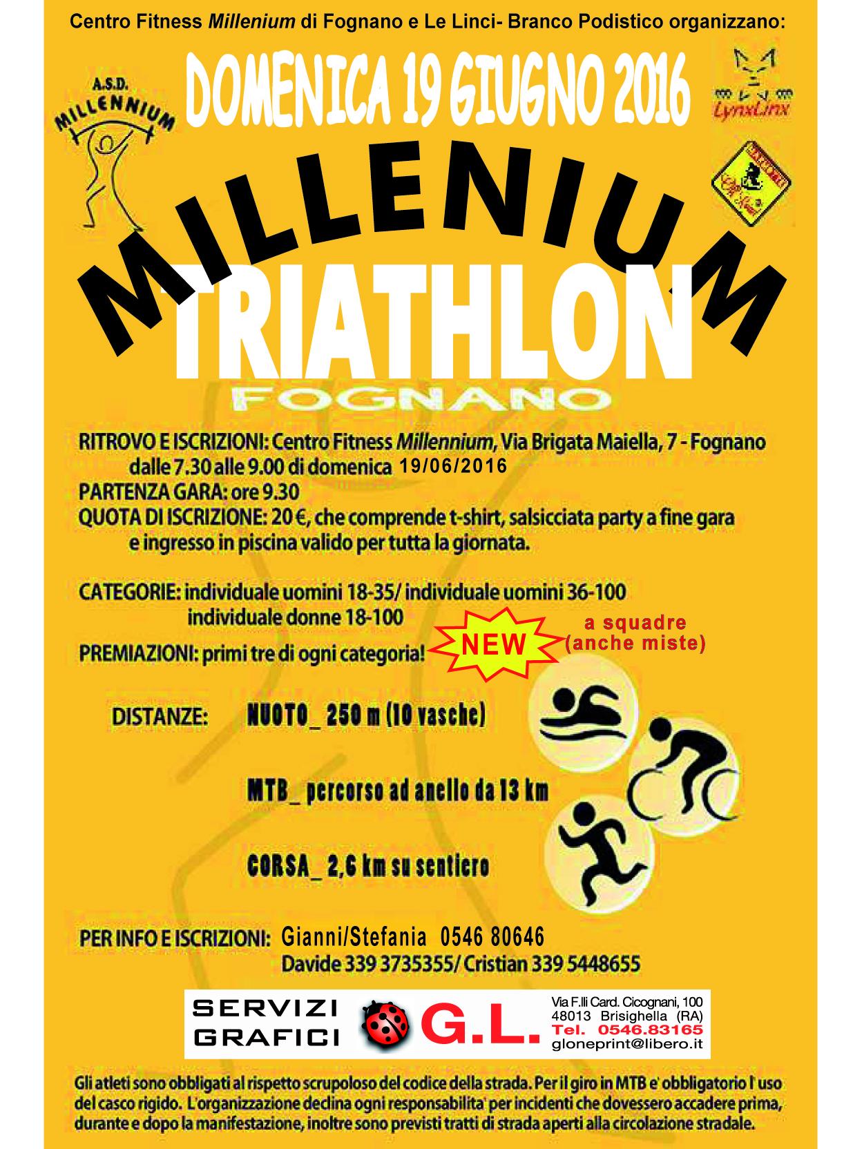 [Triathlon MTB] 19/06/16 - Millenium Triathlon Fognano - Fognano di Brisighella (RA) Millenium-locandina